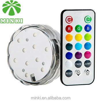 Round Shape RGB Remote Control Plasitic Led Submersible Light CE&Rohs