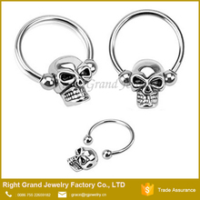 Skull Skeleton Surgical Steel Captive Bead Horseshoe Ring Lip Nose Ring