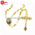 Religious jewelry of gold rosary alloy Jesus cross catholic chain rosary necklace