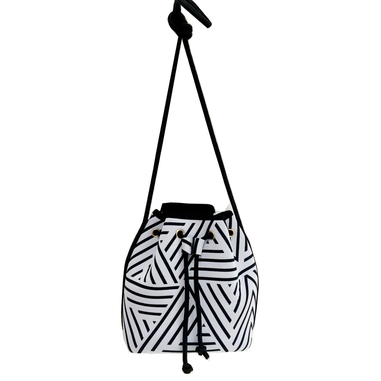 Fashion Customized Printing Drawstring Waterproof Perforated Sling Bag Tassel Rumbai Neoprene Women