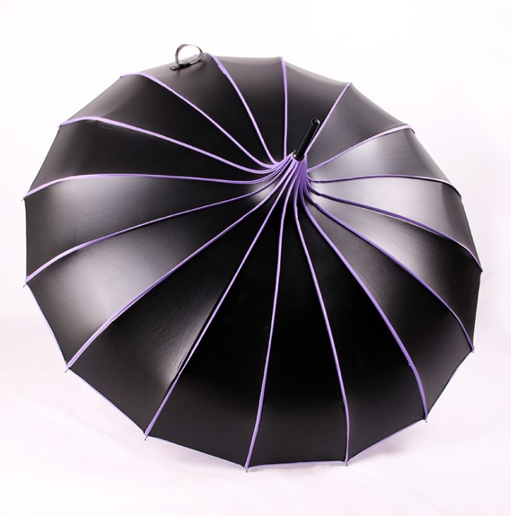 Factory Low MOQ 16 Ribs Manual UV Protection Black Coating Pagoda Parasol Umbrella