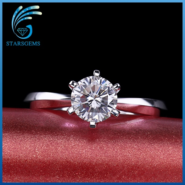 wholesale synthetic white vvs 1ct moissanite diamond jewelry ring