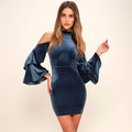 2017 New Fashion Velvet Long Sleeve Bodycon Dress Women Night Out Dress
