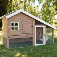 outdoor wooden rabbit hutch with pull out tray
