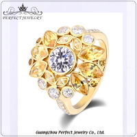 High Quality Best Price Custom Flower Shape AAA Zirconia 925 Sterling Silver Antique Ring