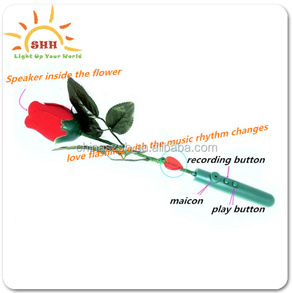 Wholesale recording function honey lovers gifts led sparkling single artificial roses