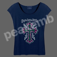 Rhinestone vinyl template Hope Love Faith & Cross tee shirt made in China