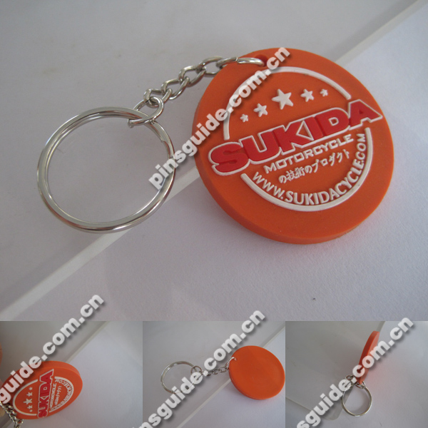 Supplier Customized Round Shape Motorcycle Printed Soft PVC Souvenir Keychain For Japanese