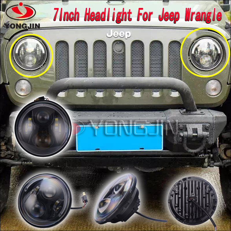 Super bright 90W H4 H13 Anti-Flicker 7 inch round led driving lights with DRL jeep headlight led
