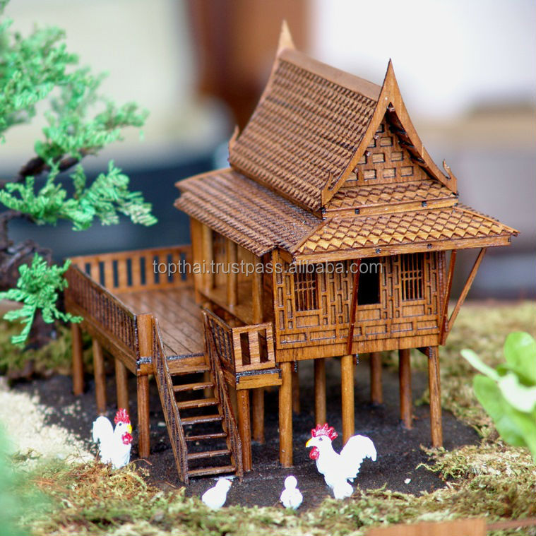 CHRISTMAS GIFT THAI TRADITIONAL TEAK HOUSE MINIATURE DREAM HOUSE MODEL HOME DECOR THAI SPIRIT HOUSE MODEL