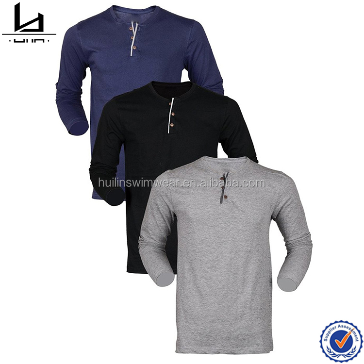 Promotional slim fit long sleeve 3 buttons front mens fashion t shirt cheap dri fit t shirt