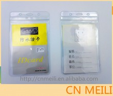 Clear waterproof soft plastic id card holder exhibition card