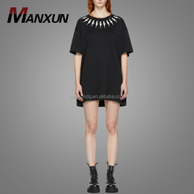 Wholesale Cheap Black Printing Pattern T Shirt Dress Casual Plain Women Tee Shirt Dresses 2018
