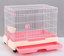 PP+ Wire Pink Flat Roof Animal House Pet Cage Doge Cage For Small Dog