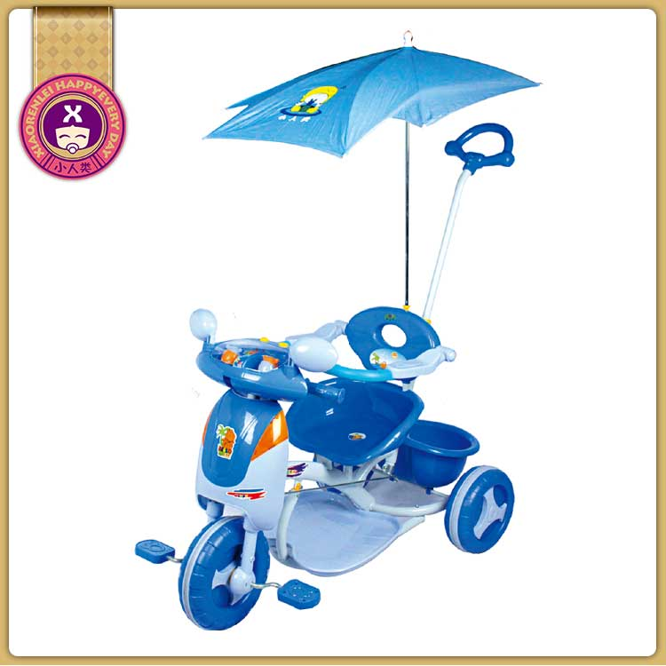Easy Adjustable Seat Canopy Push Rod Kids Trike Bikes For Babies