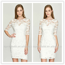 2015 New Fashion Elegant Ladies lace white dress LK-13012
