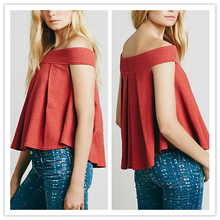 European www video hot com Off-the-Shoulder Silhouette Soft Pleats Swingy Shape Ladies Tops NT6179