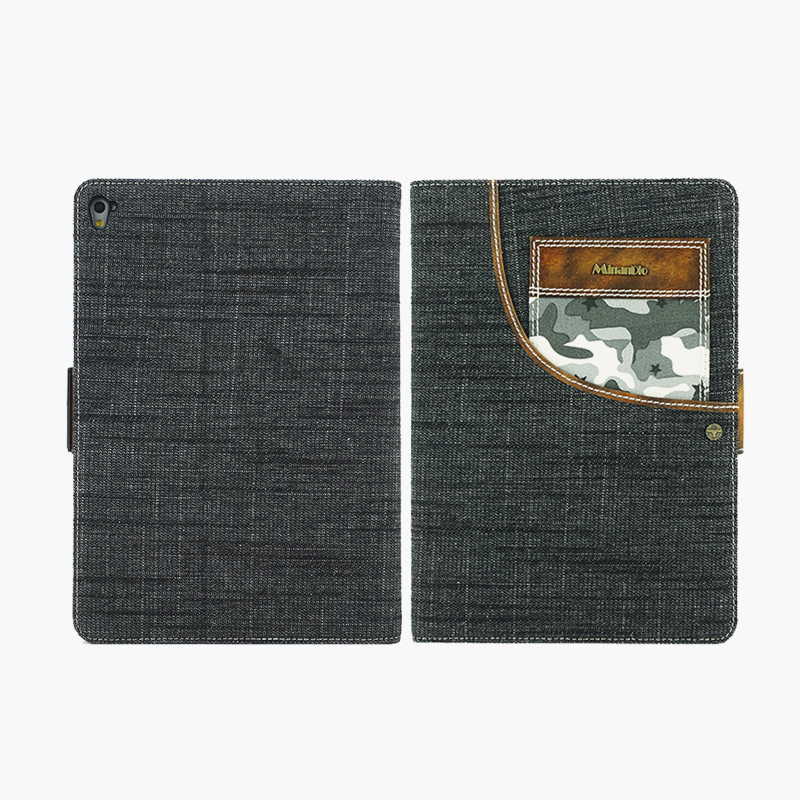 Denim jean& Genuine leather tablet case/ adjustable stand function for ipad air3