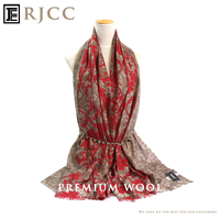 RJCC Lightweight Printed 100% Wool Scarf Shawl in Flower Pattern from Inner Mongolia Scarf Manufacture