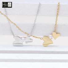2017 Fashion Women Stone Heart Necklace Simple Gold Chain Necklace 18K Wholesale in China