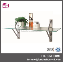 wall mounted decorative tempered corner floating glass shelf