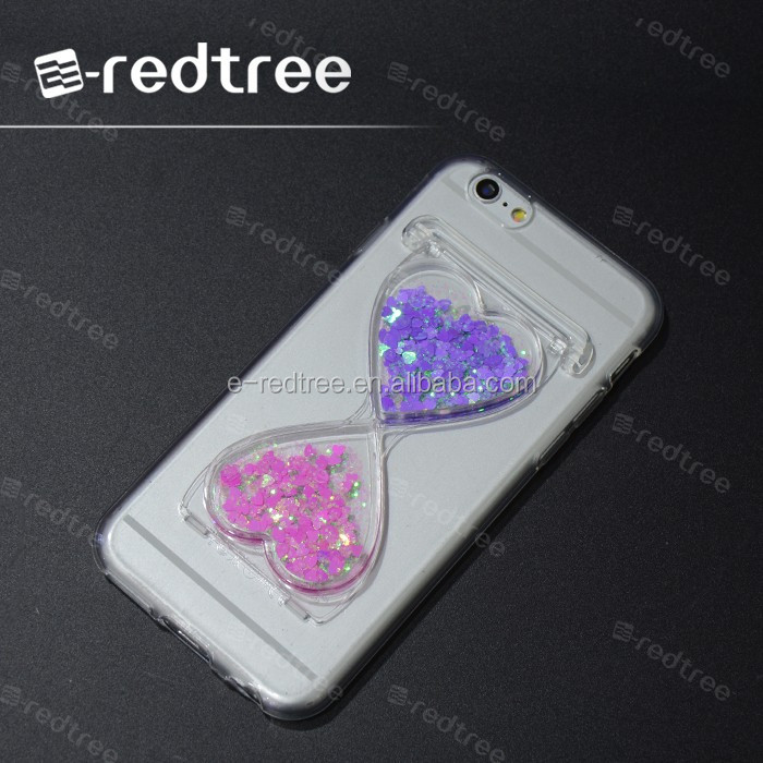 customized for iphone 5 5s cell phone case, sandglass design liquid sand case