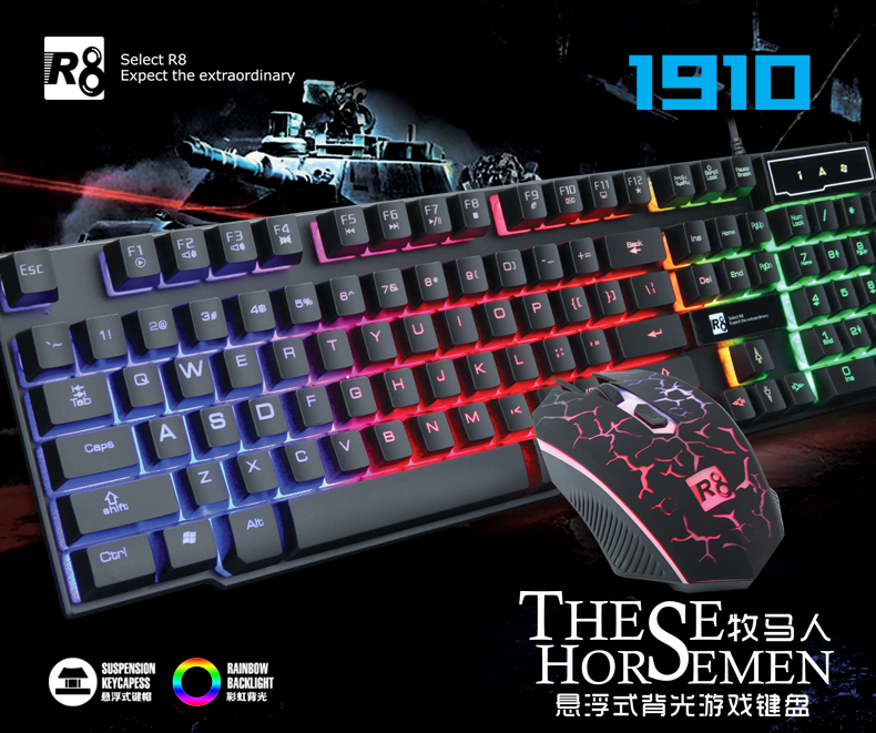 USB Wired Three Color Adjustable backlit Gaming Keyboard and Mouse Set,LED Keyboard with Mouse Combo