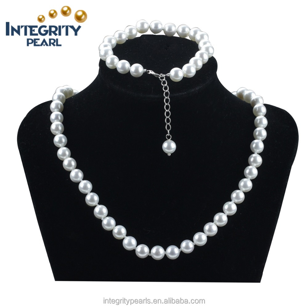 8mm white braidal simple round shell pearl jewelry set
