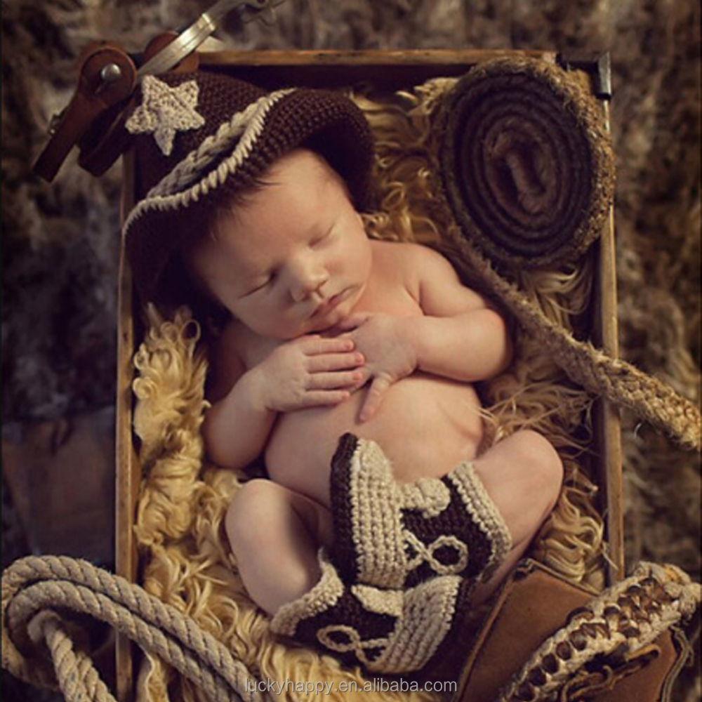 Newborn Baby Photography Prop Handmade Crochet Knit Cowboy Hat boots clothes