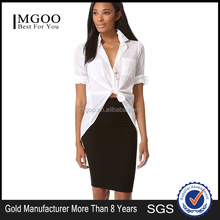 MGOO 2015 High Quality Women Office White Shirts For Women Lacing Up Muslim Fashion Blouses 15121A973