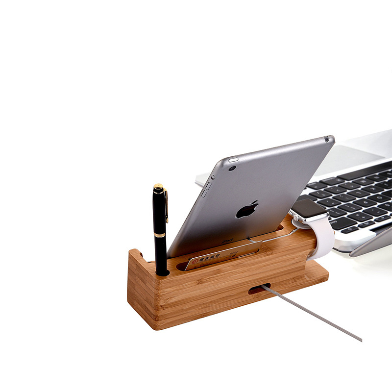 Factory Price Natural Wooden Public Mobile Phone Charging Station Holder for Tablet PC Stand