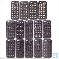 3D Cool Black Punk Full Spikes Studs Rivet Back Cover Case For Apple iPhone 5 5G/5S--P-IPH5TPU167