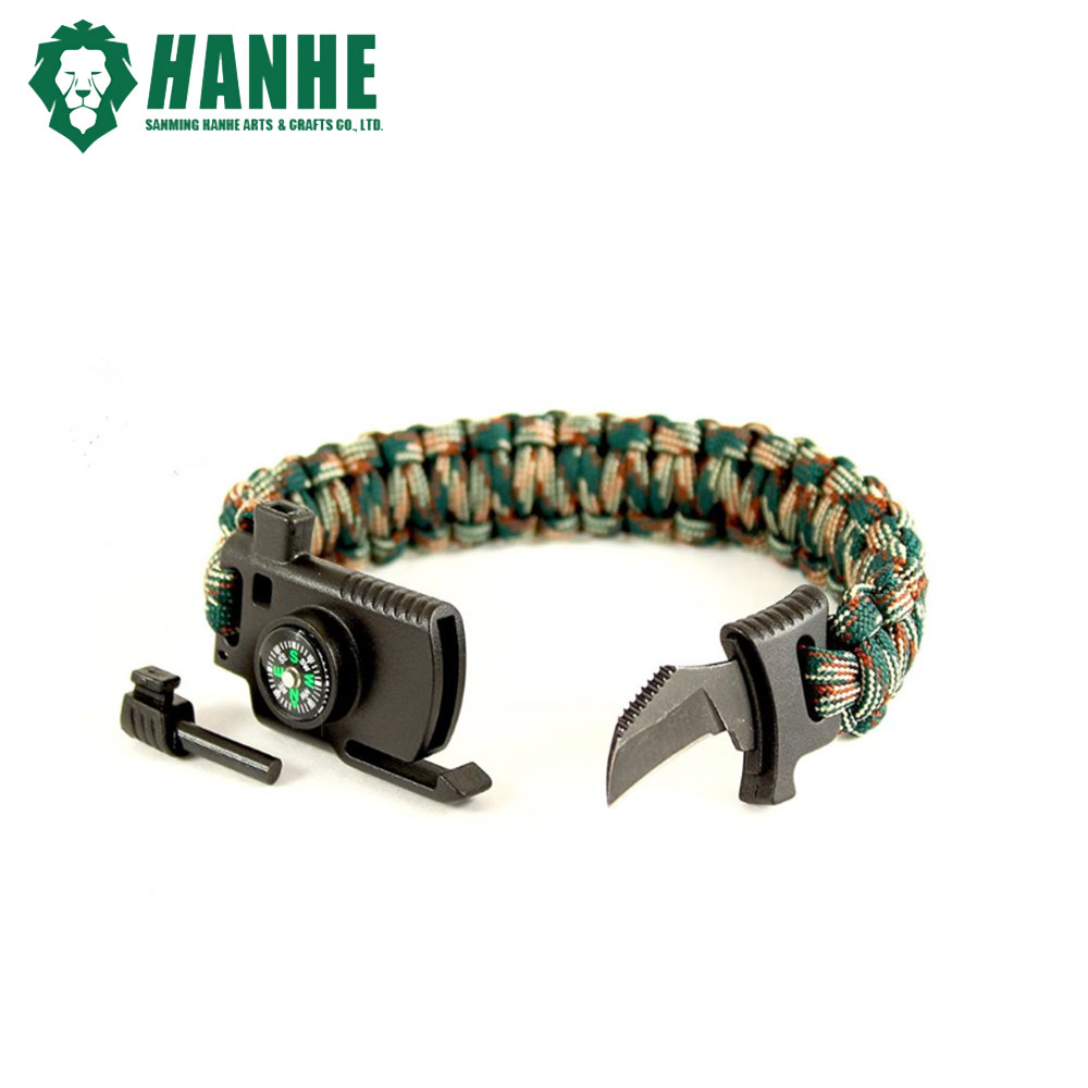 2018 New Design Hidden Knife Outdoor Survival Paracord Bracelet With