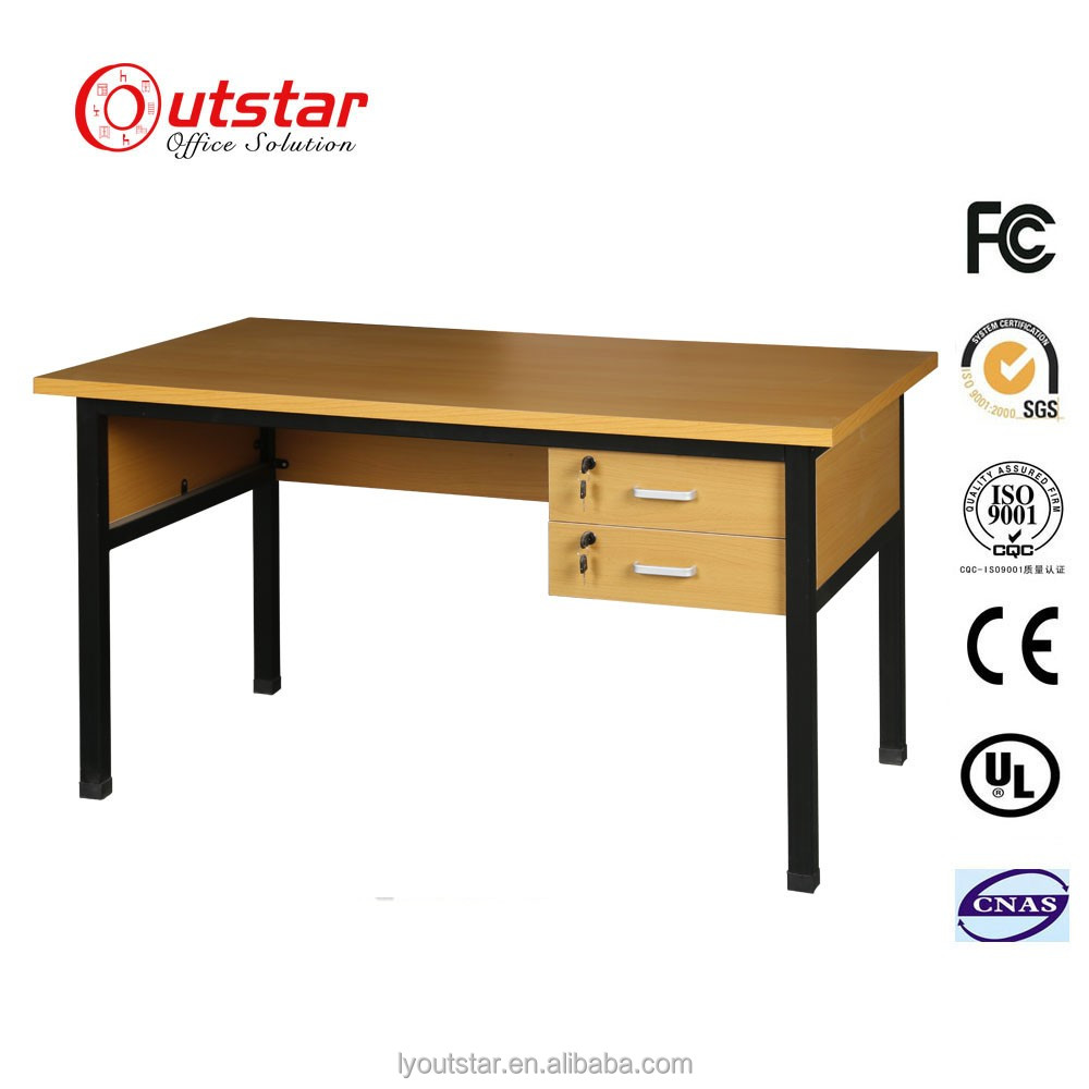 Customized kd wood top office desk with 2 drawers