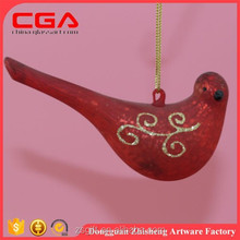 2015 lovely wholesale hand-painted hanging glass bird shaped baubles for christmas ornaments
