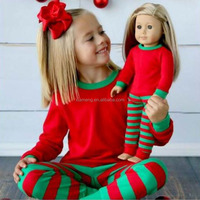2015 hot sale in-stock item red and green strip christmas pajamas kids winter