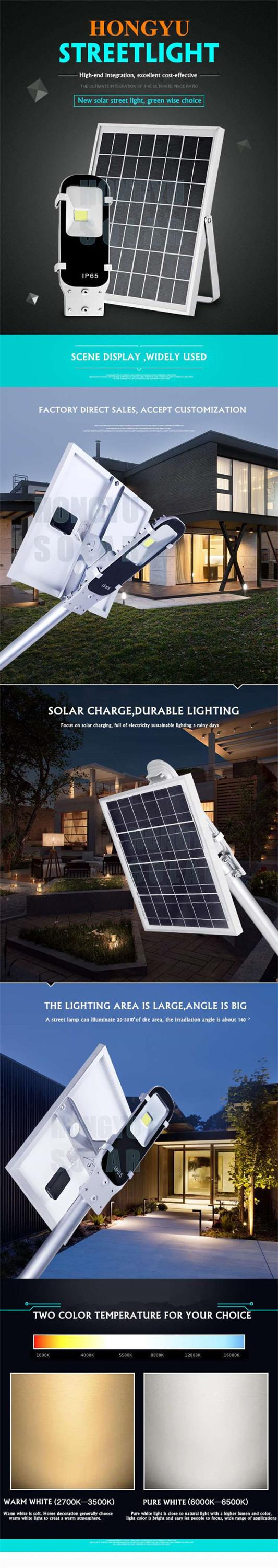6-60W outdoor all in one solar LED light with auto sensing for street or garden