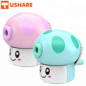 Popular school stationery fancy mushroom design Alloy Steel Helix Sharpener Color Pencil hand crank mechanical Pencil Sharpener