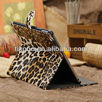 Standing leather case for ipad air,leopard cover