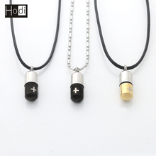 China Making New Arrival Two Tones Color Small Bullet Jewelry Fashion Men Stainless Steel Necklaces 2017