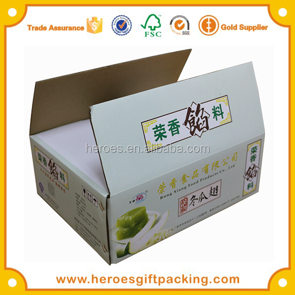 Trade Assurance CMYK Full Color Printed Big and Strong Corrugated Paper Carton For Food