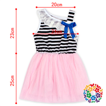 Children Girls Black Strip Lace Collar Girls Prom Dresses Pink Tulle Skirt Party Dress