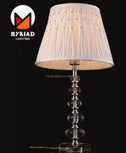 Cheap Study table lamp manicure table with crystal base +fabric shade MY8609T
