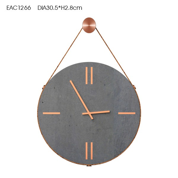 Fancy design hanging genuine leather cement decorative wall clock with gold clock hand