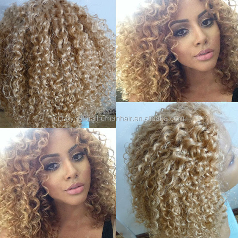 Honey Blond Kinky Curl human hair lace front wig Medium Length 20inch Brazilian human hair full lace wig for black women