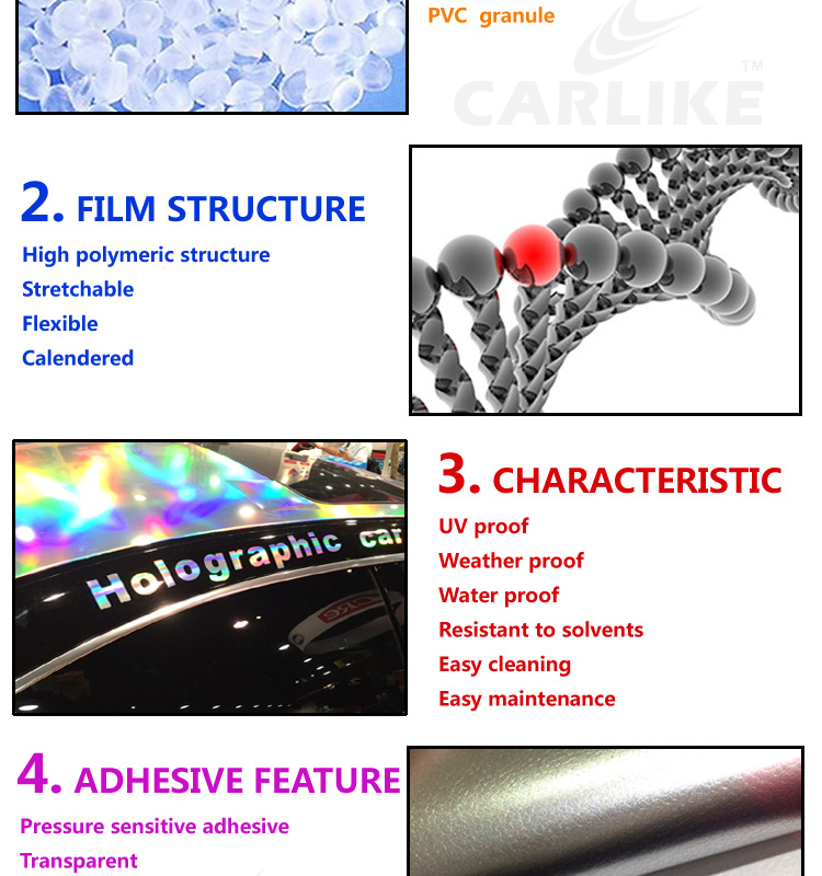 CARLIKE Laser Silver Chrome Holographic Rainbow Auto Body Wrapping Car Vinyl Stickers