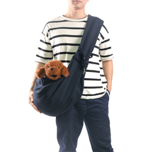 personalized navy blue soft cotton reversible double sides dog carrier sling bag for pet outdoor travel
