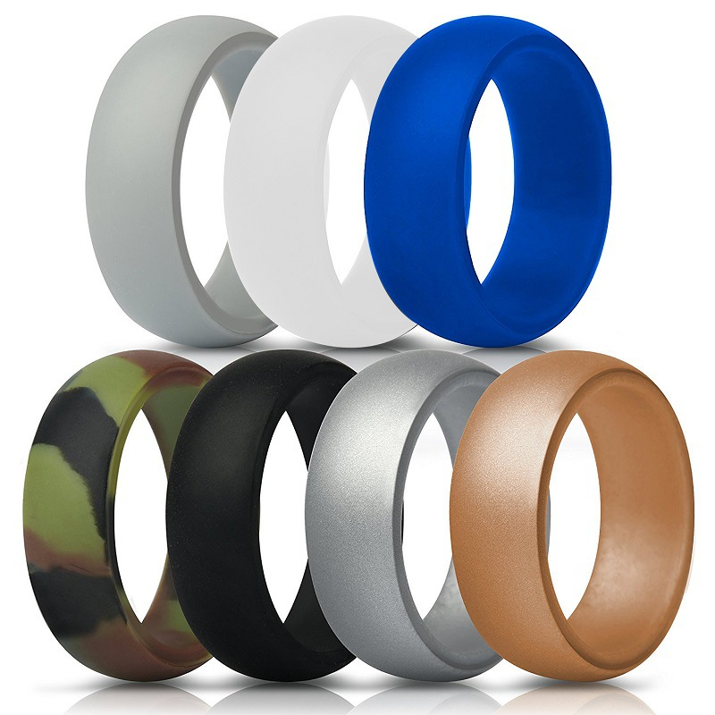 Men's silicon wedding <strong>rings</strong>, women's silicone finger <strong>rings</strong>, 7pcs/set silicone sports <strong>rings</strong>