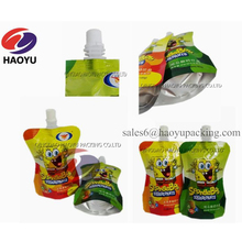 Energy drink juice jelly spout pouch/aluminum foil stand up bag with spout/liquid food flexible packaging sachet