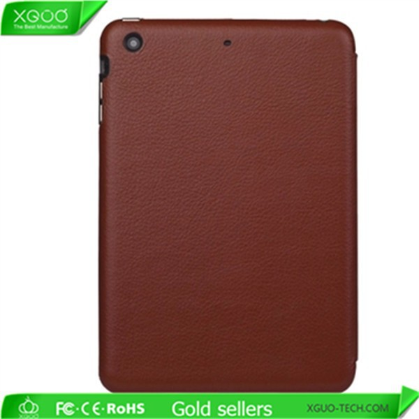 Smart stand full grain leather cover for iPad Mini 2 leather cover